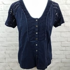 J Crew Cotton Top Short Sleeve Navy Blue Size 8